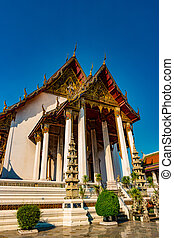 The Chapel of Wat Suthat. The temple of Rama 8 reign at the...