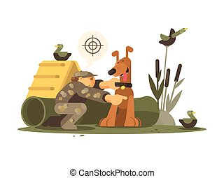 Cynologist training hunting dog on special site. Vector flat...