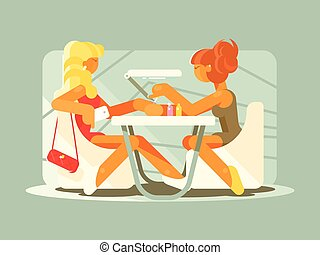 Young girl doing a manicure - Young girl doing manicure in...