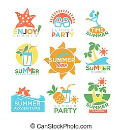 Summer holidays and travel adventure or party vector design set
