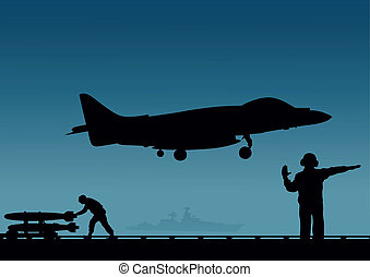 An aircraft carrier, a plane with vertical take-off and a...