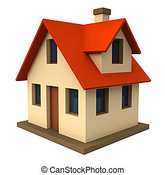 Cottage - 3d render of schematic presented cottage isolated...