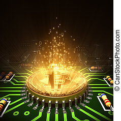 Concept Of Bitcoin Like A Processor With Magic Digital Light...
