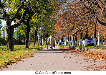 Old woman walking street
