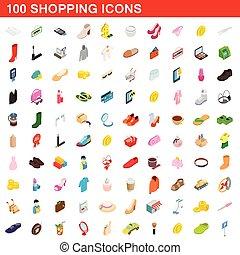 100 shopping set, isometric 3d style - 100 shopping icons...