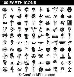 100 earth icons set, simple style - 100 earth icons set in...