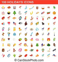 100 holidays icons set, isometric 3d style