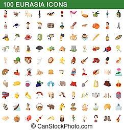 100 eurasia icons set, cartoon style - 100 eurasia icons set...