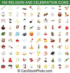 100 religion and celebration icons set in cartoon style for...