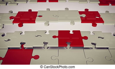 """White and red puzzle pieces"""