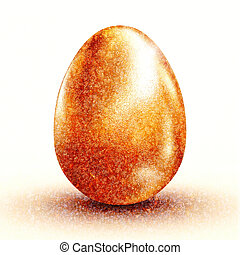 3d golden egg - golden easter egg 3d rendering image