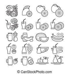 Vector set of  black and white  fruit juice icon.