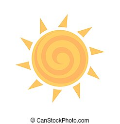 Yellow sun icon. Vector illustration