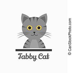 Cute tabby cat. Vector illustration