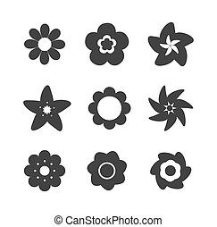 Set of flower icons - Set of flower shape icons. Vector...