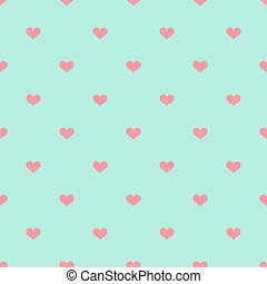 Pink hearts on blue background pattern