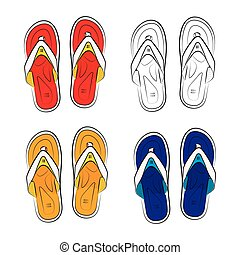 Vietnamese slippers on a white background. Vector...