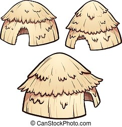 Hay huts - Primitive hay huts. Vector clip art illustration...