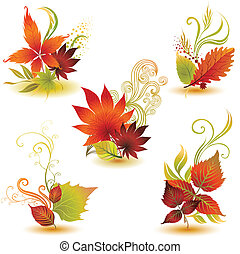 set of colorful autumn leafs - Vector set of colorful autumn...