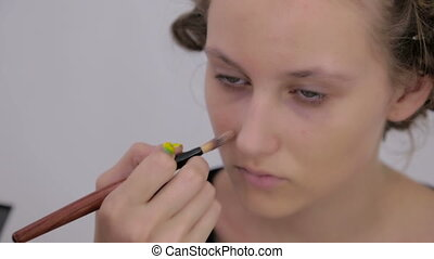 Makeup artist applying liquid tonal foundation on the face...