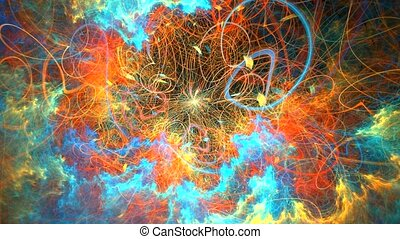 Fractal background with abstract colored Galaxy. High...