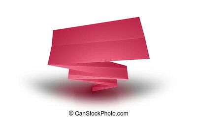 Animation of color set of paper ribbons on a white...