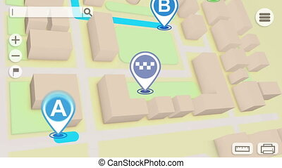 """Animation of City map with GPS Icons"" - ""Animation of City..."