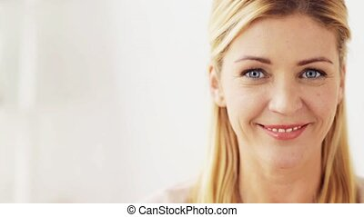 happy smiling woman portrait at home