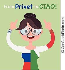 Vector Language school concept illustration. Girl girl in...