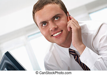 Calling - Photo of smart businessman calling somebody and...