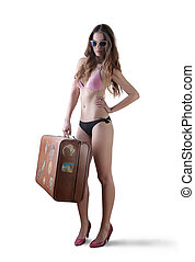 Woman without clothes with luggage