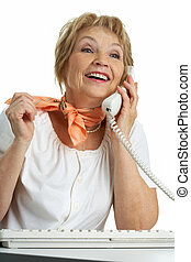 Calling senior woman - Portrait of senior female calling...