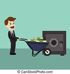 Businessman or manager brings money using wheel barrow. Banking and investment
