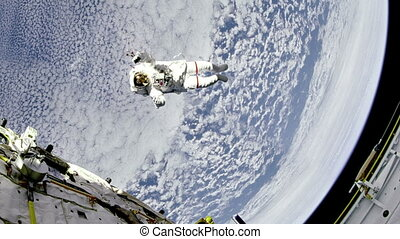 """Astronaut are flying near the space station"" - ""Astronaut..."