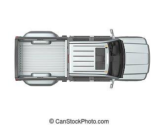 Silver metallic pickup truck