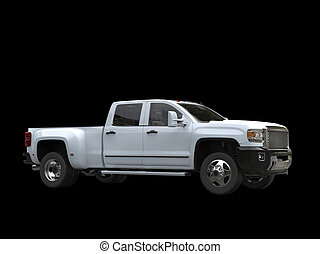 White pickup truck - isolated on black background