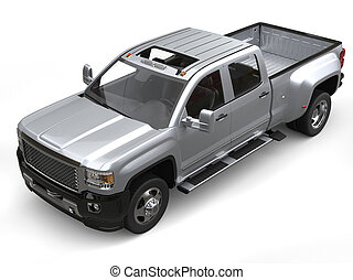 Silver modern pickup truck - top down studio shot