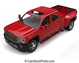 Crimson red modern pickup truck - top down studio shot