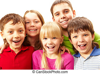 Laughing children - Image of young boys and girls smiling at...