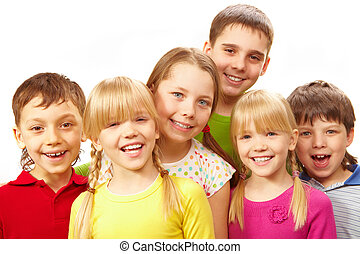 Row of children - Image of young boys and girls smiling at...