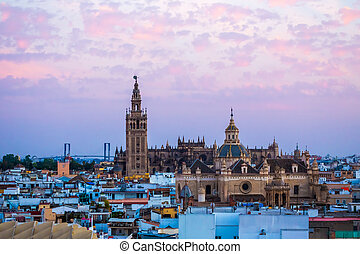 Sunset in Seville, view from Metropol Parasol at the old...