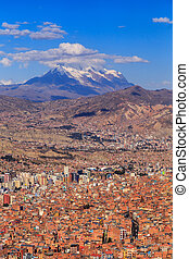 La Paz colorful panorama with a mountain ina background,...
