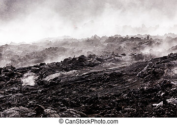 Smoking lava fields at volcanoes National Park