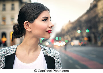 Woman from profile - Young woman from profile