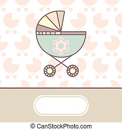 baby arrival card with cradle