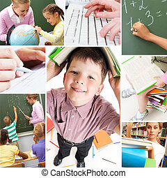 Studying process - Collage of schoolchildren and studying...