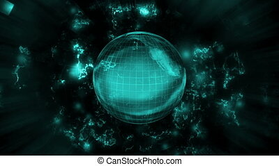 Blue earth science fiction abstract animated background -...