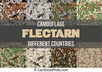 Set of Flectarn Camouflage seamless patterns of different...