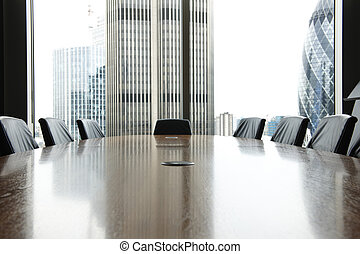 Boardroom - view of boardroom table with chairs and city...
