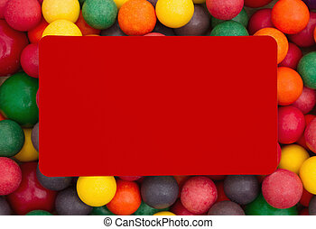 Colorful multi colored bubble gum background with red card